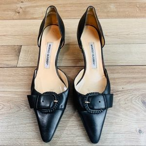 MANOLO Blahnik | Black Leather Heels | 38.5